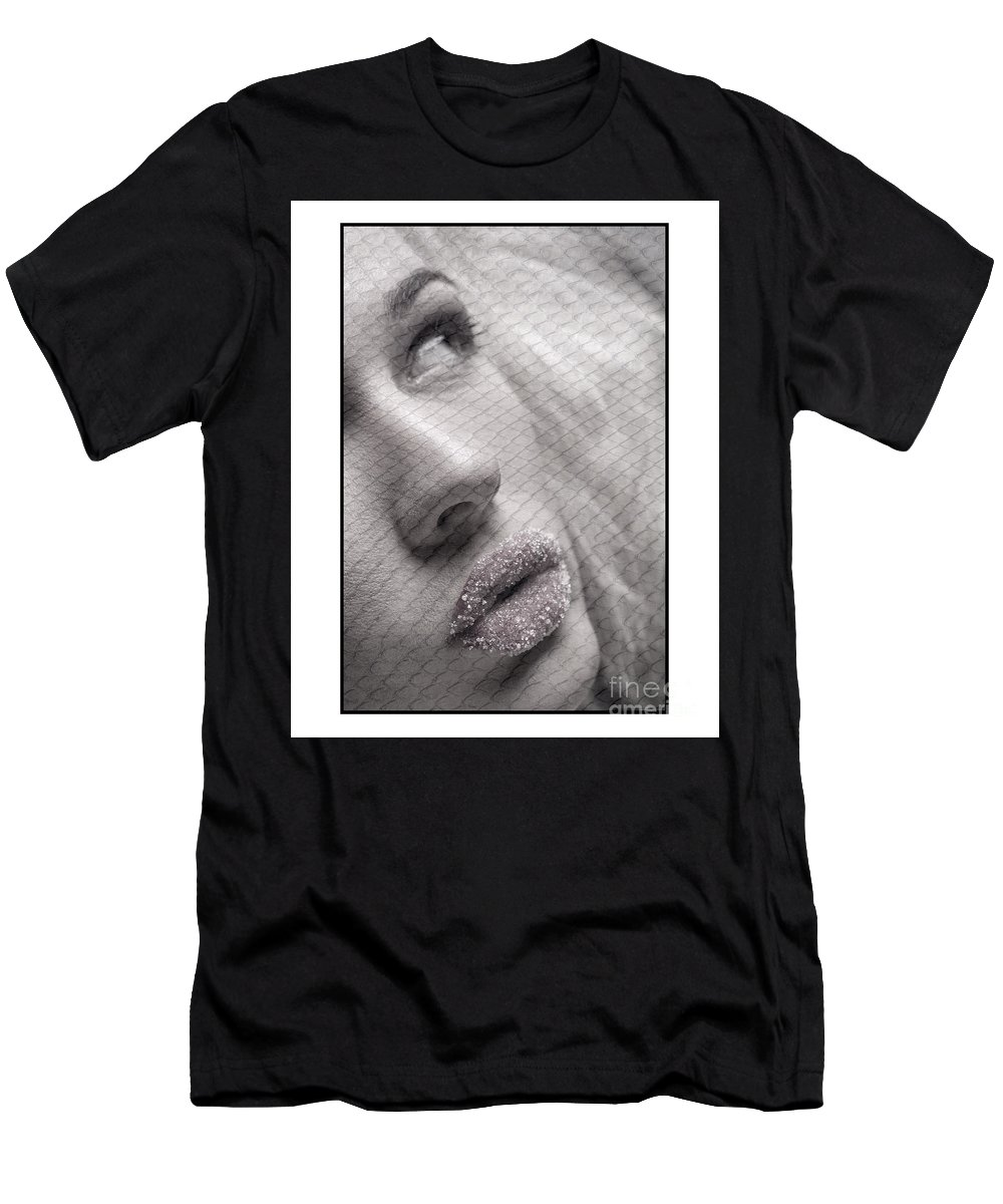 Studio Men's T-Shirt (Athletic Fit) featuring the photograph Gorgeous Girl With Sugar On Her Lips by Michael Edwards