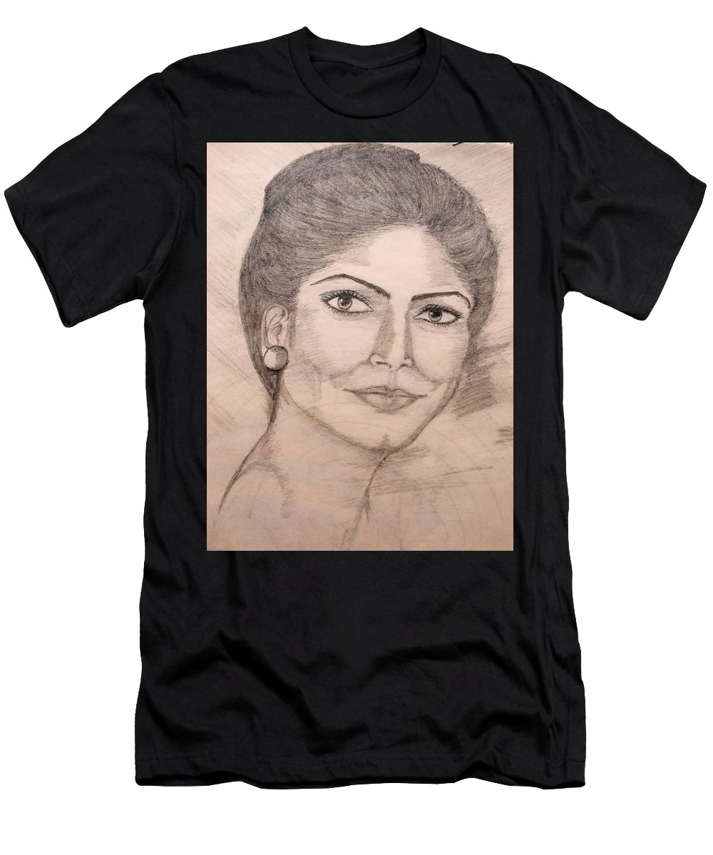 Portrait Men's T-Shirt (Athletic Fit) featuring the drawing Gorgeous Lady by Gagandeep Kaur