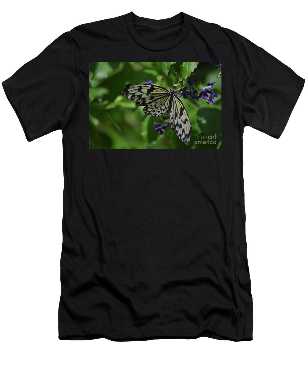 Tree-nymph Men's T-Shirt (Athletic Fit) featuring the photograph Gorgeous White Tree Nymph Butterfly With It's Wings Spread by DejaVu Designs