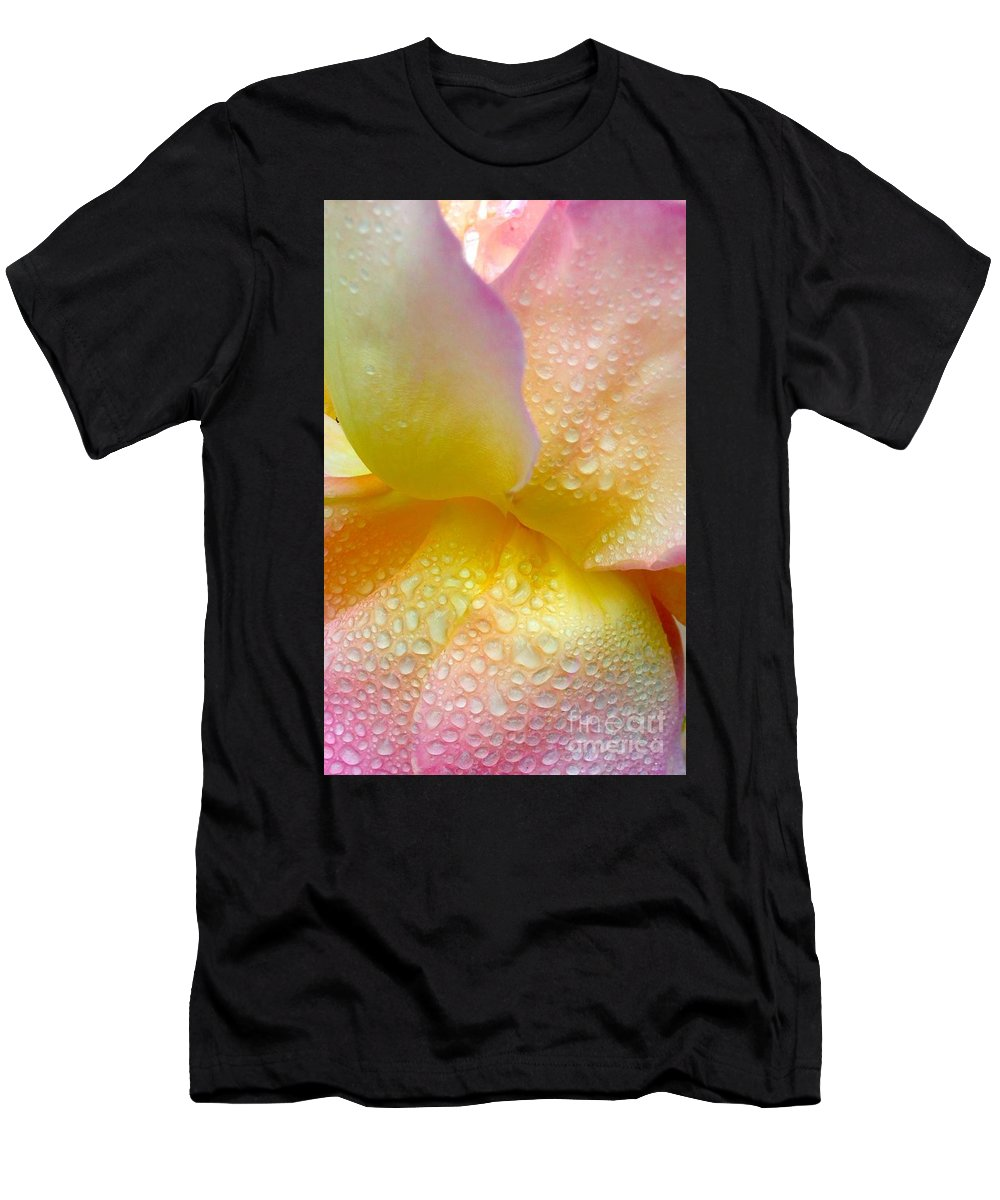 Dew Drops On Pink And Yellow Rose Petals Men's T-Shirt (Athletic Fit) featuring the photograph Gorgeous Wings by Steve Travis