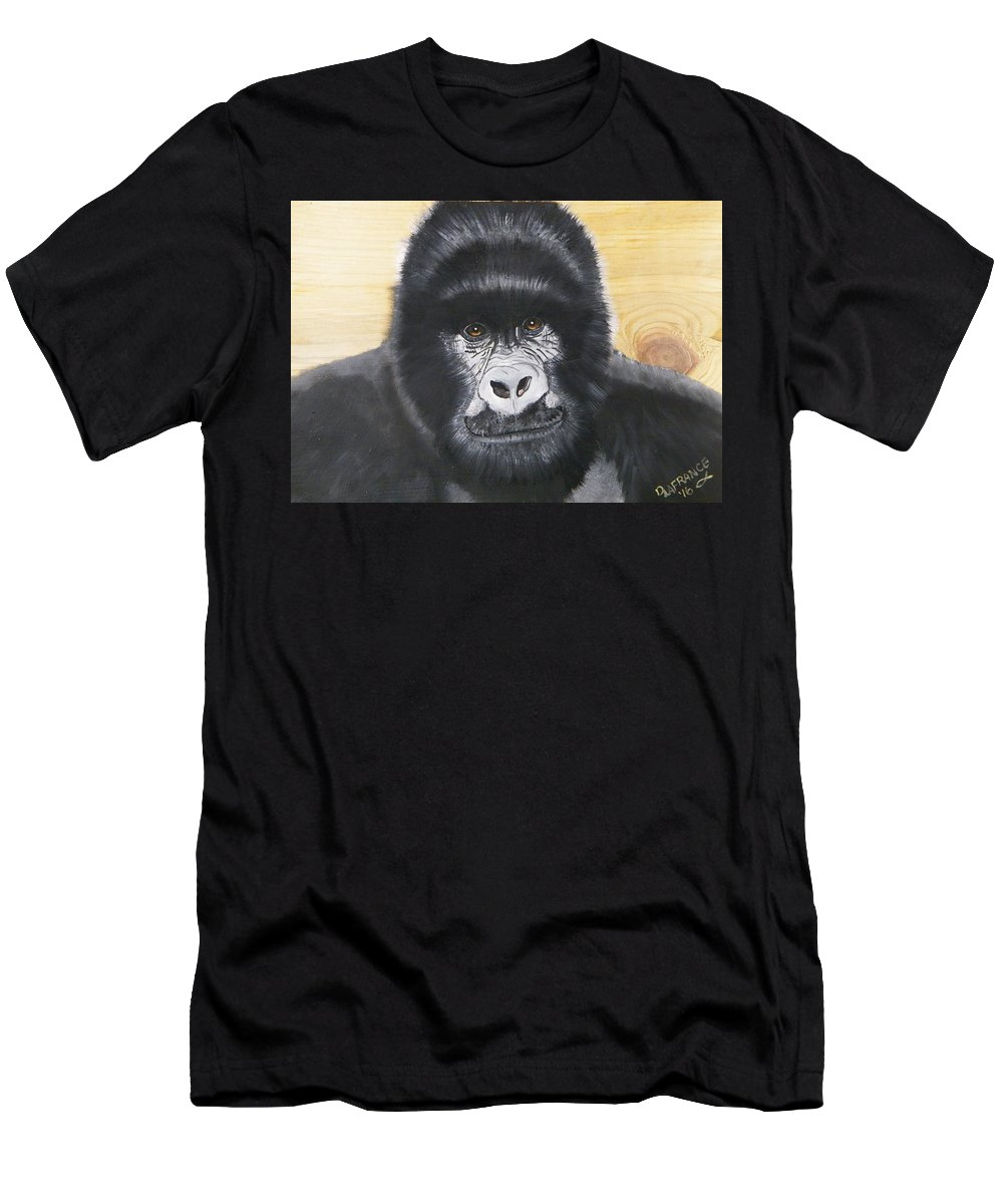 Gorilla Men's T-Shirt (Athletic Fit) featuring the painting Gorilla On Wood by Debbie LaFrance