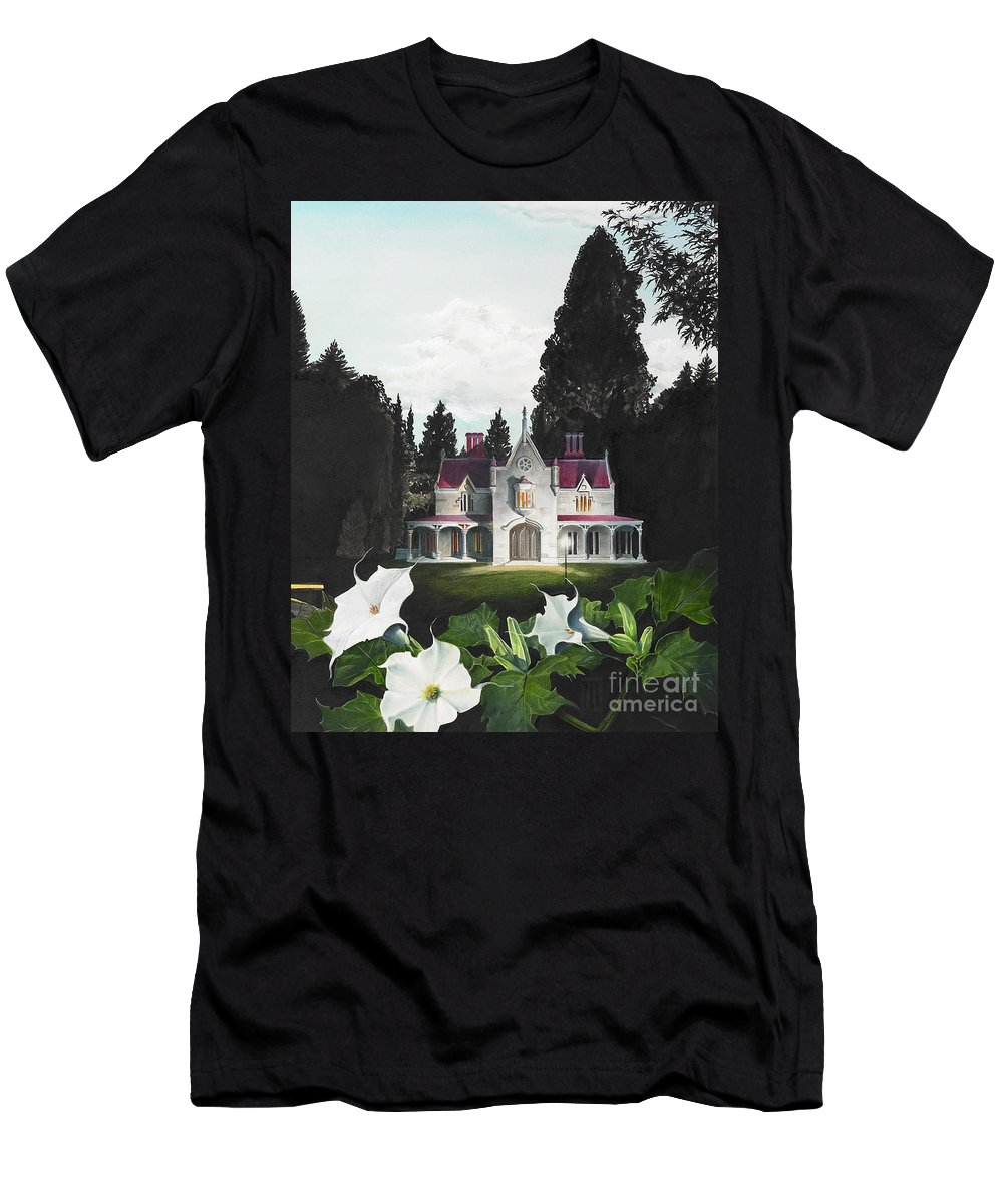 Fantasy T-Shirt featuring the painting Gothic Country House detail from Night Bridge by Melissa A Benson