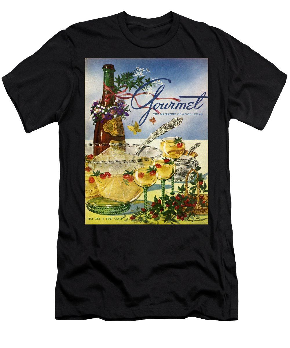 Illustration Men's T-Shirt (Athletic Fit) featuring the photograph Gourmet Cover Featuring A Bowl And Glasses by Henry Stahlhut