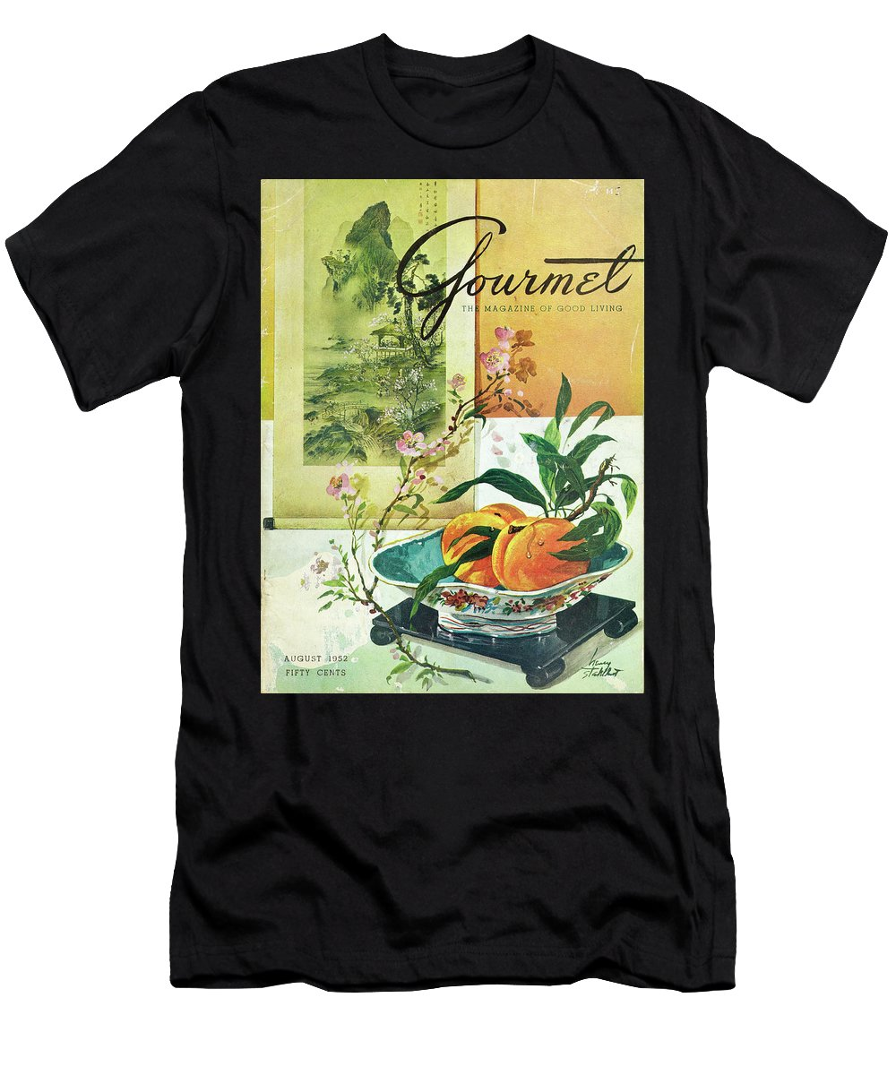 Food Men's T-Shirt (Athletic Fit) featuring the photograph Gourmet Cover Featuring A Bowl Of Peaches by Henry Stahlhut