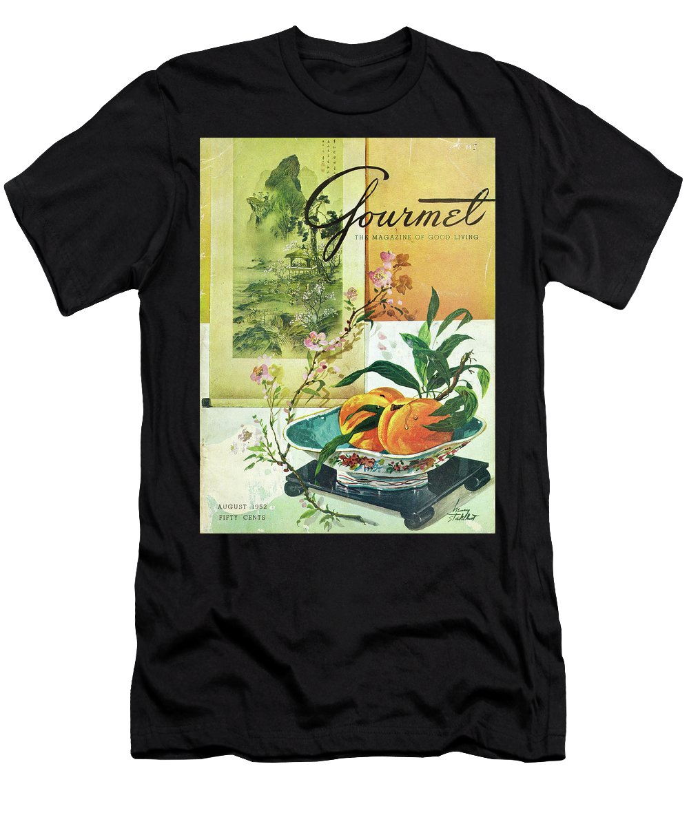 Food T-Shirt featuring the photograph Gourmet Cover Featuring A Bowl Of Peaches by Henry Stahlhut