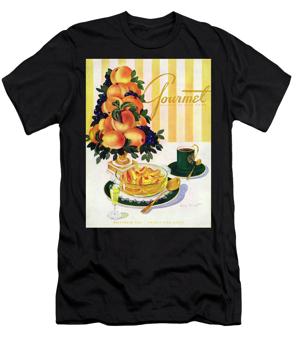Illustration Men's T-Shirt (Athletic Fit) featuring the photograph Gourmet Cover Featuring A Centerpiece Of Peaches by Henry Stahlhut