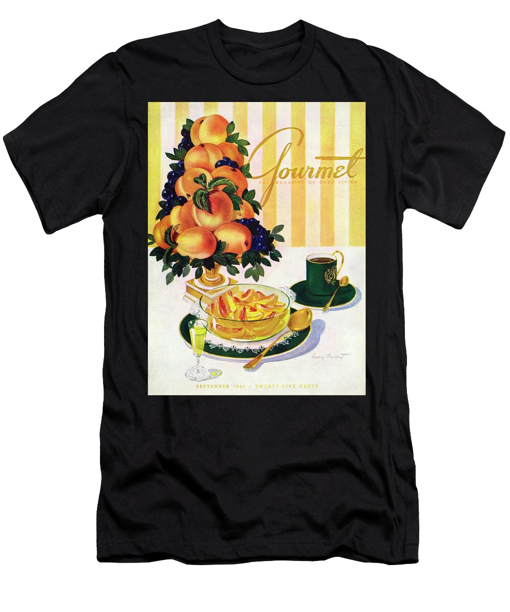 Illustration T-Shirt featuring the photograph Gourmet Cover Featuring A Centerpiece Of Peaches by Henry Stahlhut