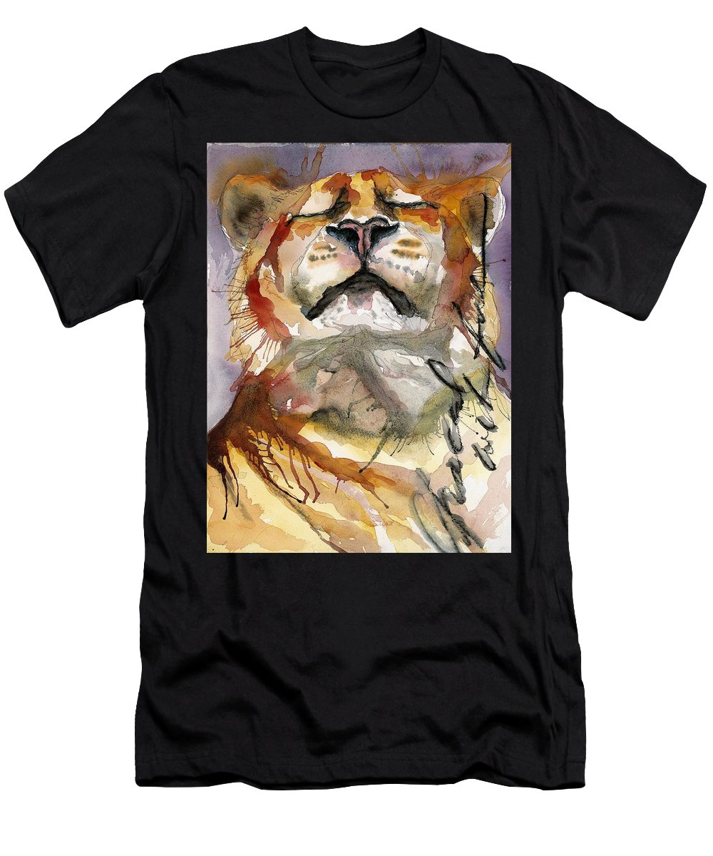 Tiger Men's T-Shirt (Athletic Fit) featuring the painting Grace With Faith by Gina Rossi armfield