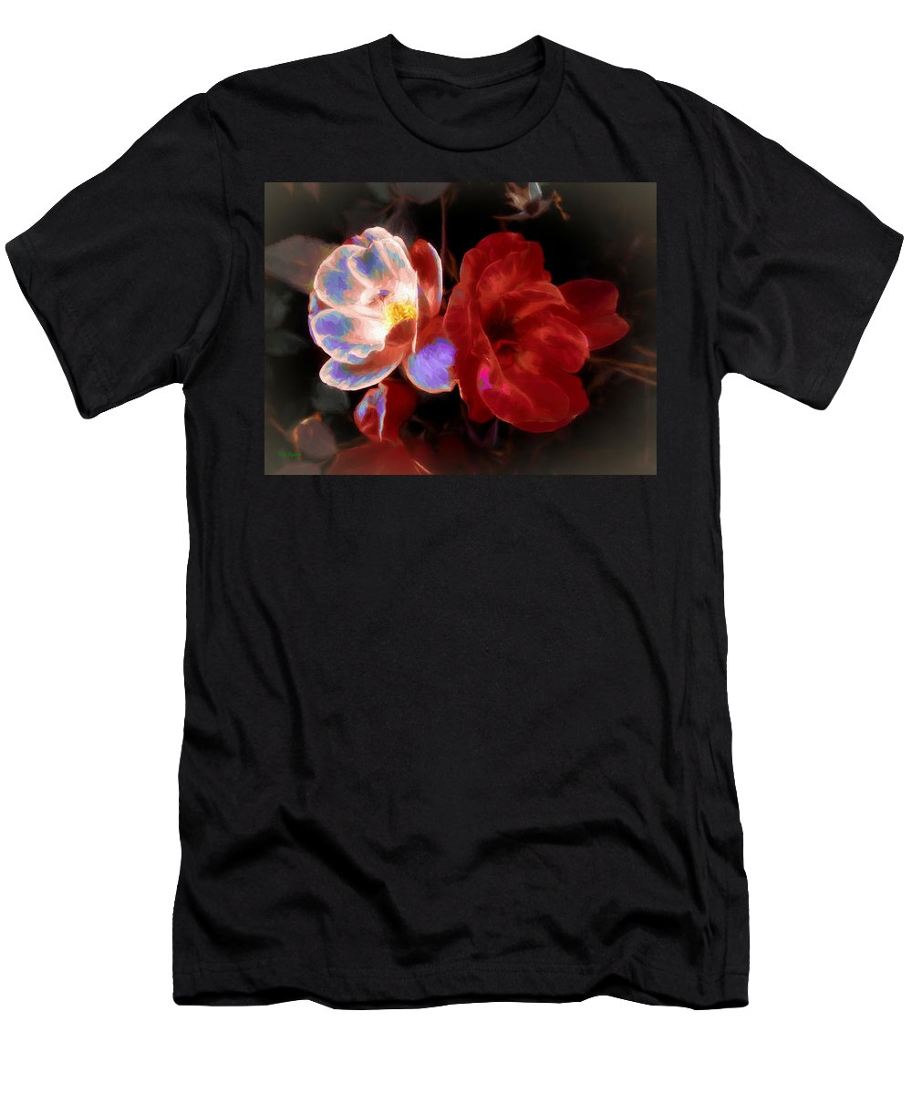 Roses Men's T-Shirt (Athletic Fit) featuring the mixed media Graceful Glow by Debra Lynch
