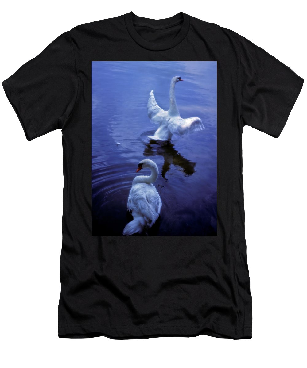 Swan Men's T-Shirt (Athletic Fit) featuring the photograph Graceful Swans by Marie Hicks