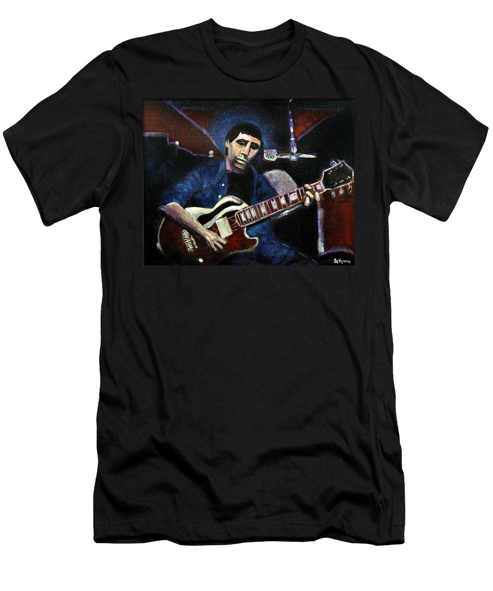 Shining Guitar Men's T-Shirt (Athletic Fit) featuring the painting Graceland Tribute To Paul Simon by Seth Weaver