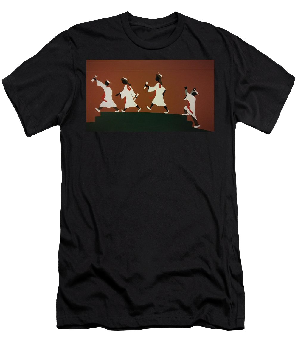 Graduation Men's T-Shirt (Athletic Fit) featuring the painting Graduation by Demarco Kelly
