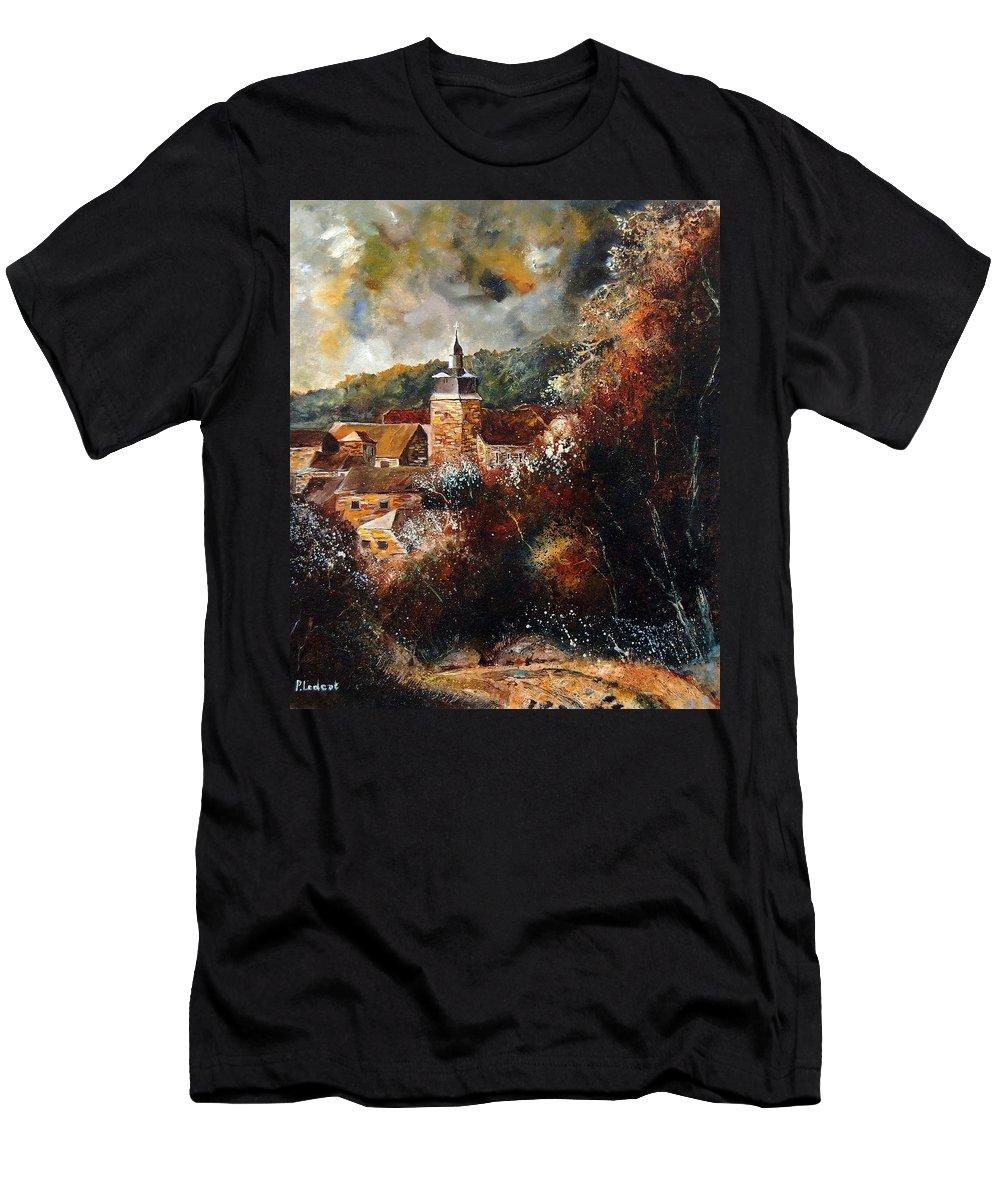 Village Men's T-Shirt (Athletic Fit) featuring the painting Graide Village Belgium by Pol Ledent