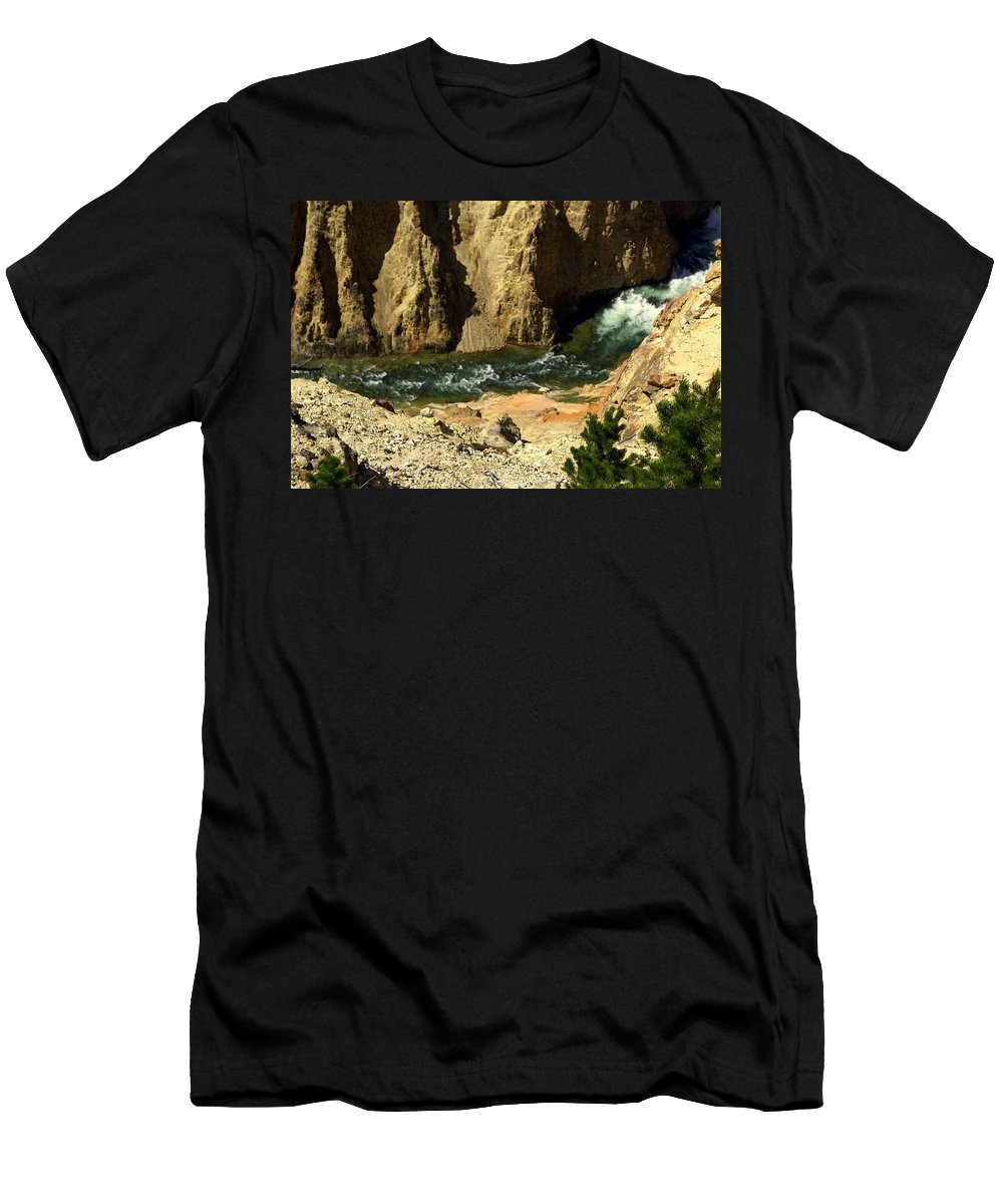 Yellowstone National Park Men's T-Shirt (Athletic Fit) featuring the photograph Grand Canyon Of The Yellowstone 3 by Marty Koch