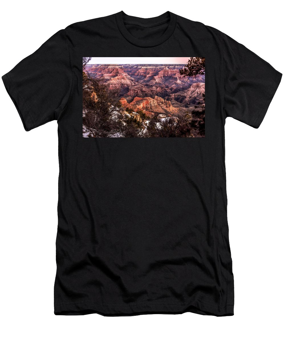 Landscape Men's T-Shirt (Athletic Fit) featuring the photograph Grand Canyon Winter Sunrise Landscape At Yaki Point by Brian Tada