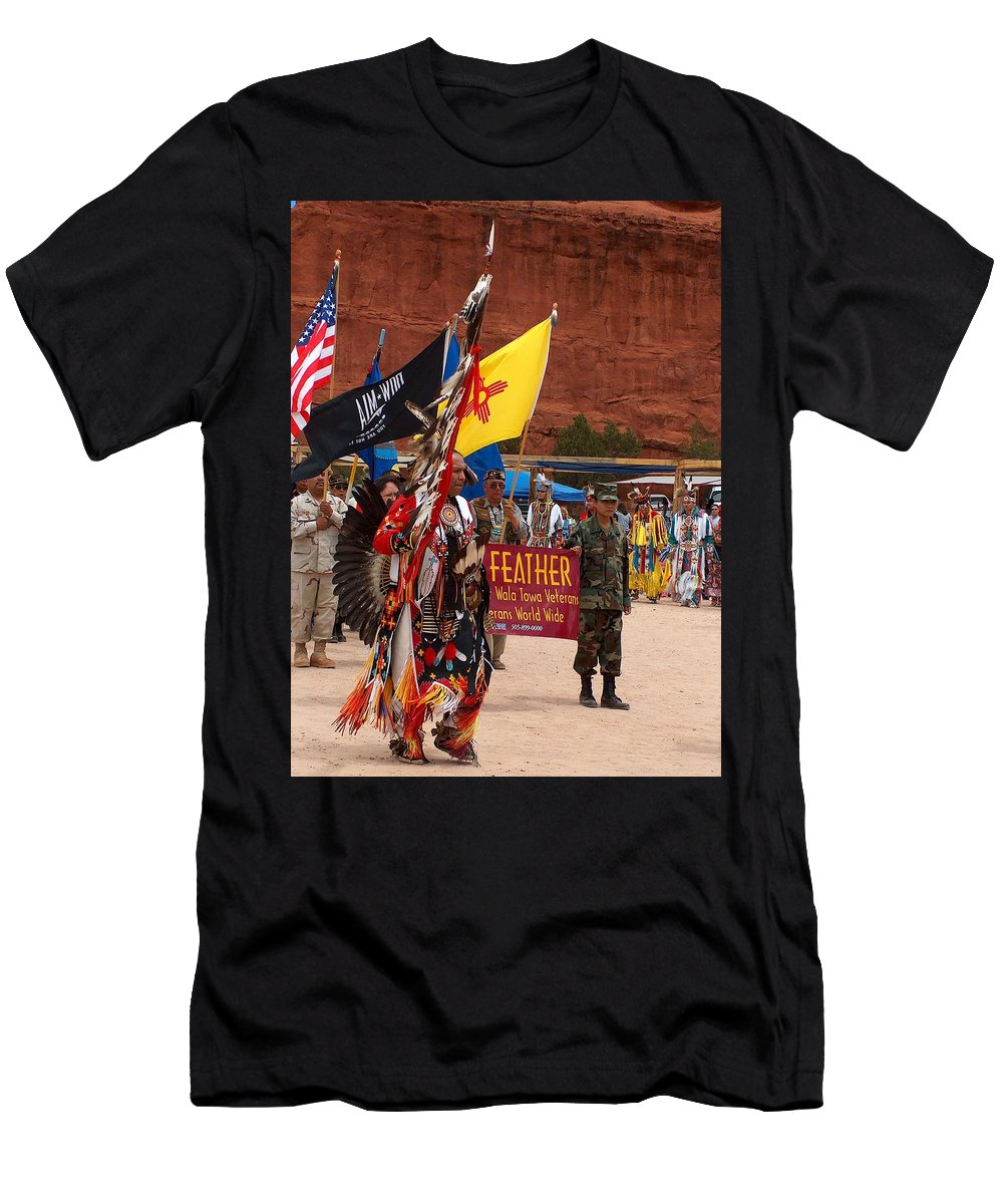 Pow-wow Men's T-Shirt (Athletic Fit) featuring the photograph Grand Entry At Star Feather Pow-wow by Tim McCarthy