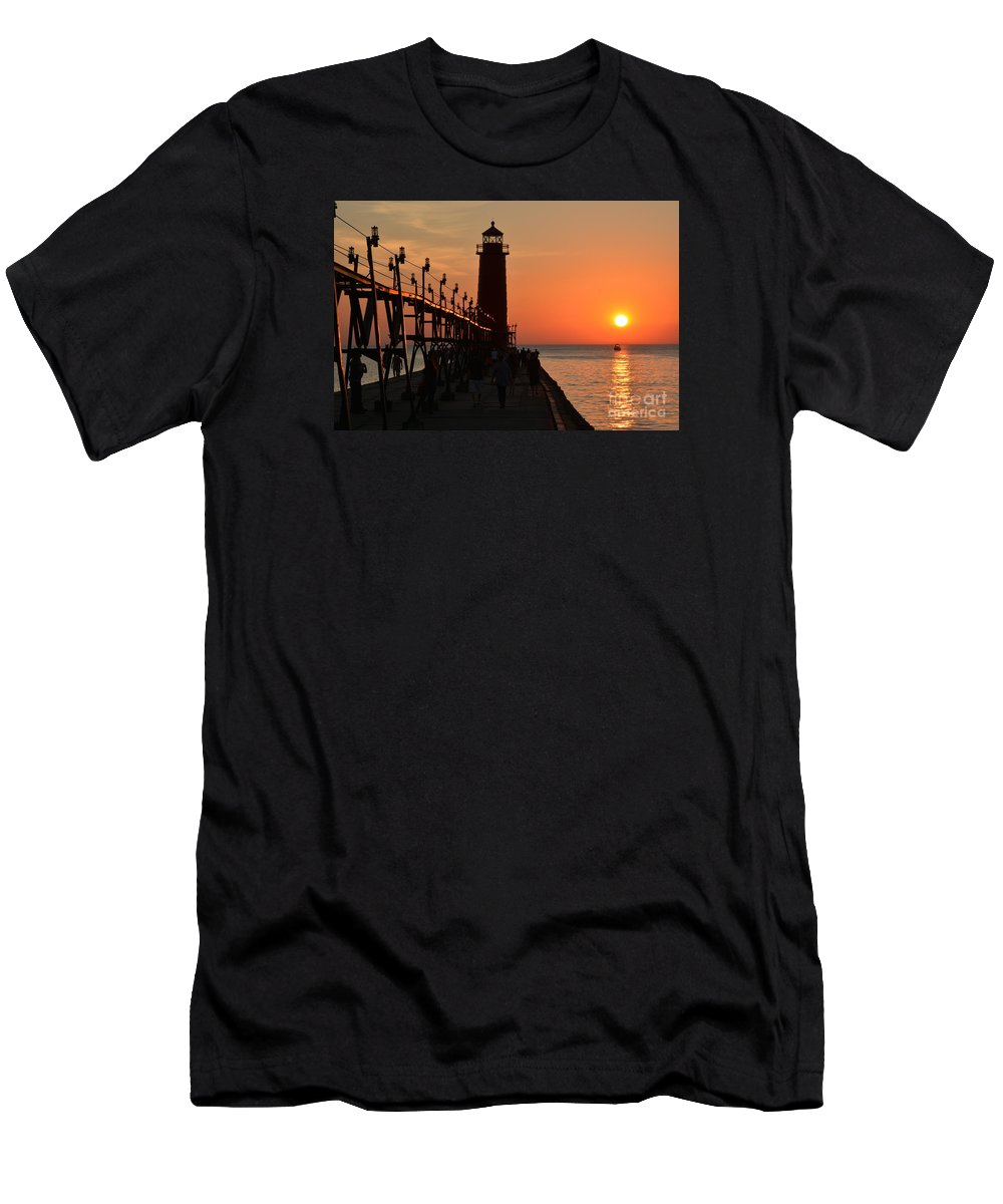 Lighthouse Men's T-Shirt (Athletic Fit) featuring the photograph Grand Haven Light by Stephen Path