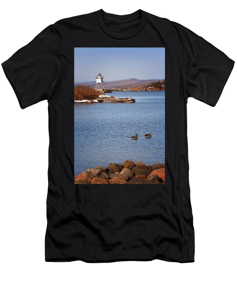 Grand Marais Men's T-Shirt (Athletic Fit) featuring the photograph Grand Marais Breakwater Lights by Susan Rissi Tregoning