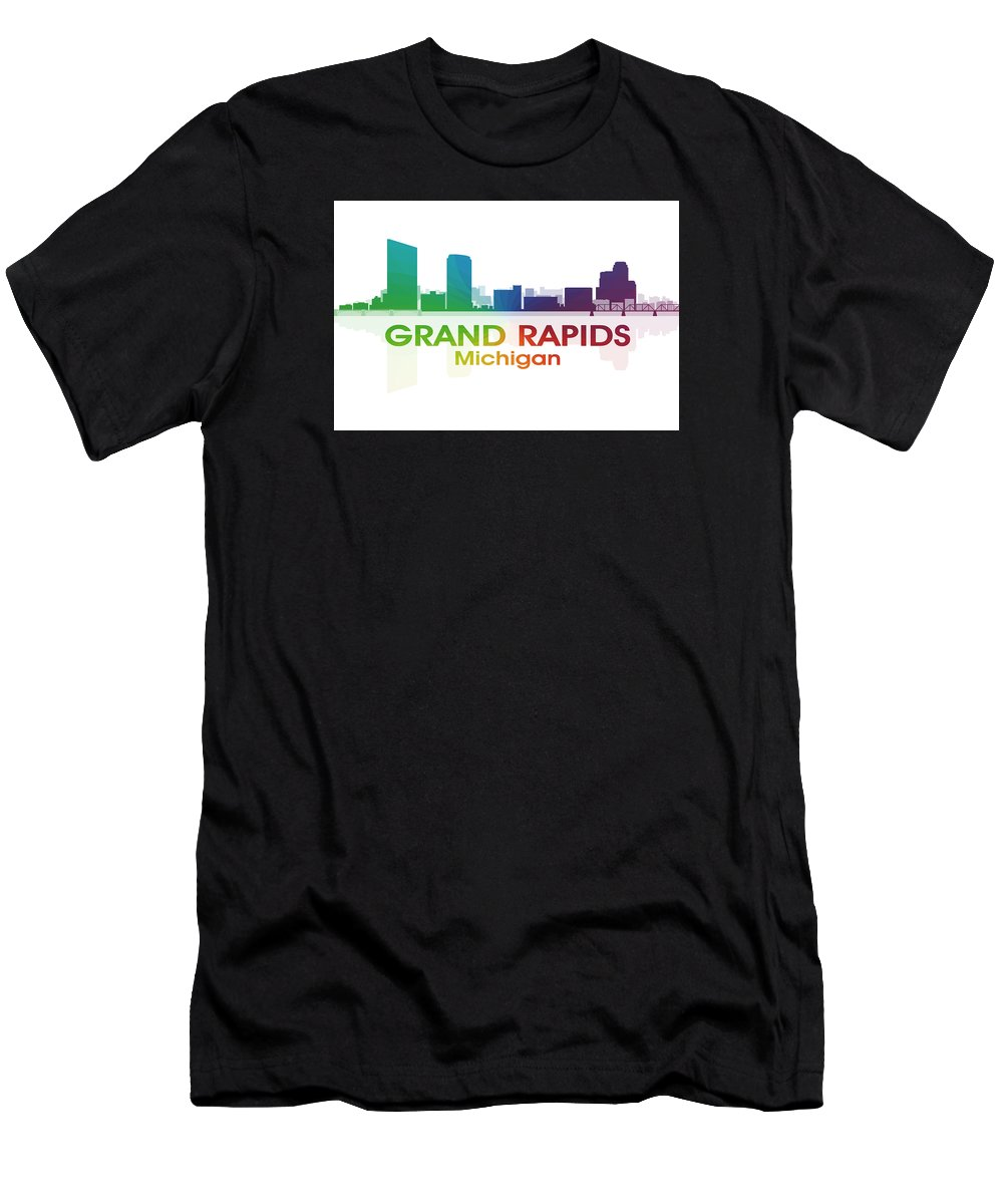 Grand Rapids Men's T-Shirt (Athletic Fit) featuring the mixed media Grand Rapids Mi by Angelina Vick