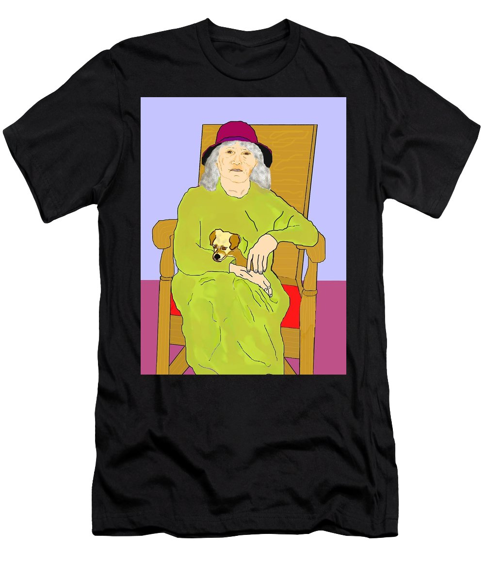 Grandmother Men's T-Shirt (Athletic Fit) featuring the painting Grandma And Puppy by Pharris Art