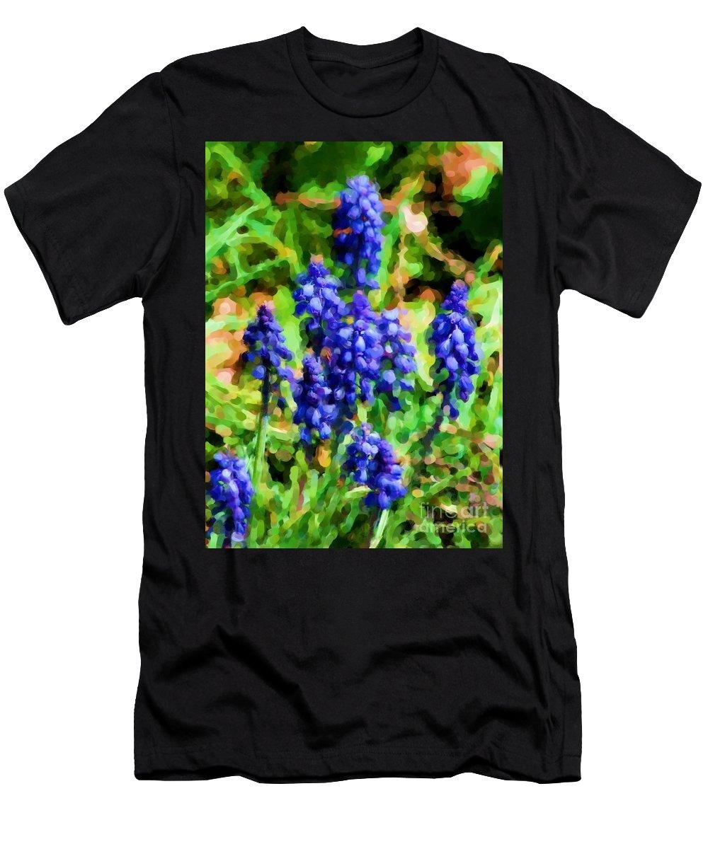 Grape Hyacinths Men's T-Shirt (Athletic Fit) featuring the photograph Grape Hyacinths by David Lane