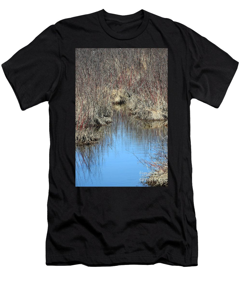 Wetlands Men's T-Shirt (Athletic Fit) featuring the photograph Grass Reflections by William Tasker