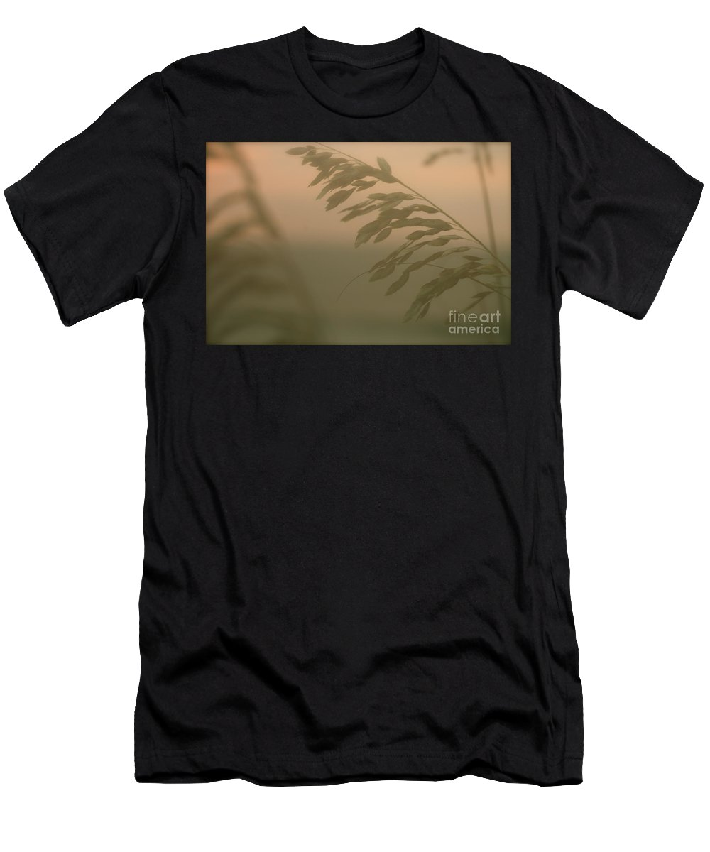 Green Men's T-Shirt (Athletic Fit) featuring the photograph Grasses And Mist by Nadine Rippelmeyer
