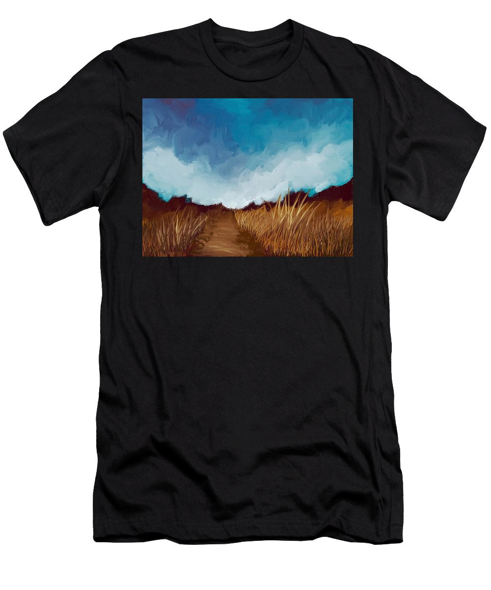 Landscape Men's T-Shirt (Athletic Fit) featuring the painting Grassy Path by Bruce Young
