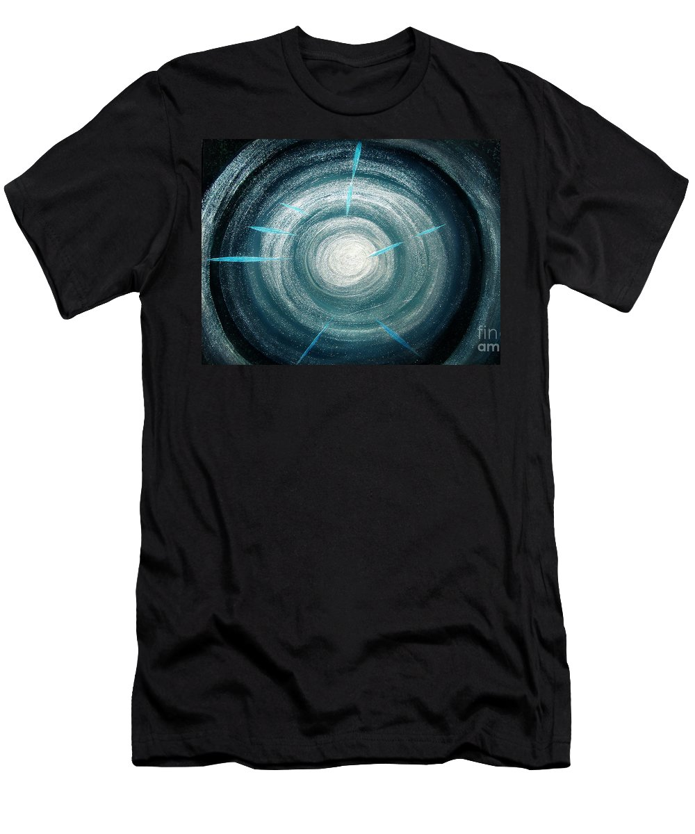 Sparkly Men's T-Shirt (Athletic Fit) featuring the painting Gray-blue Star. Sparkling Light by Sofia Metal Queen