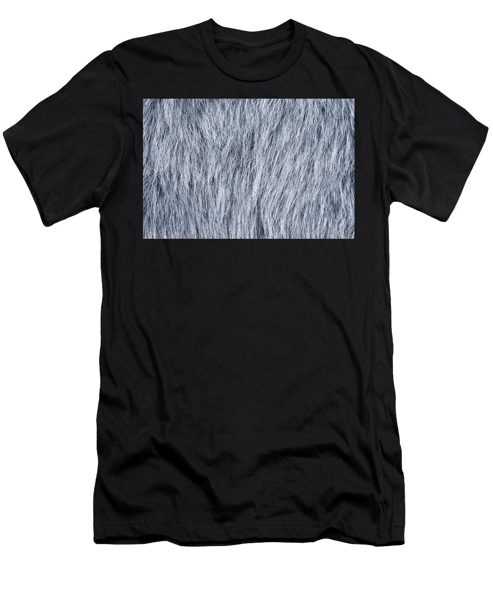 Fur Men's T-Shirt (Athletic Fit) featuring the photograph Gray Fake Fur Horizontal by Peter Hermes Furian