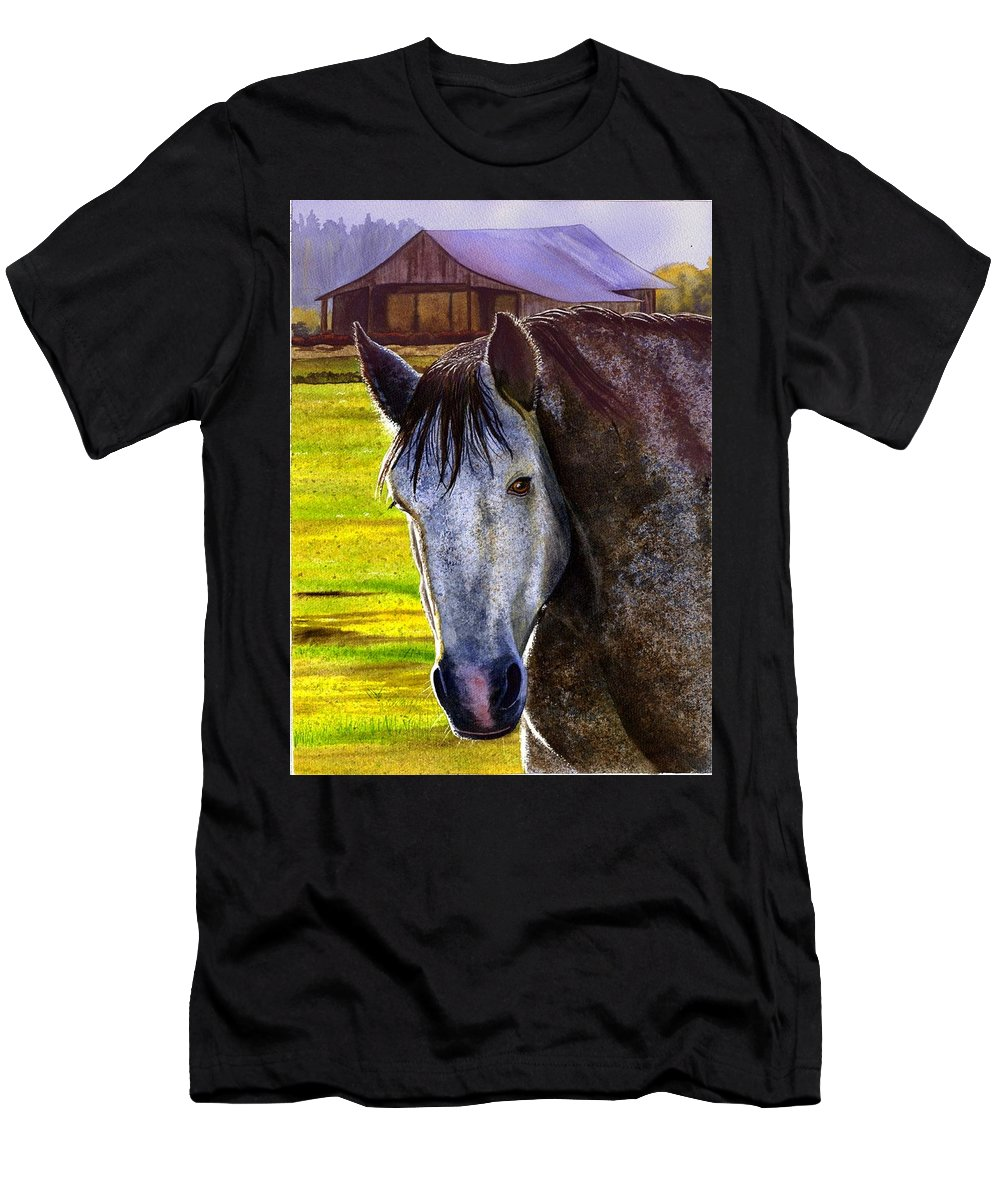 Horse Men's T-Shirt (Athletic Fit) featuring the painting Gray Horse by Catherine G McElroy
