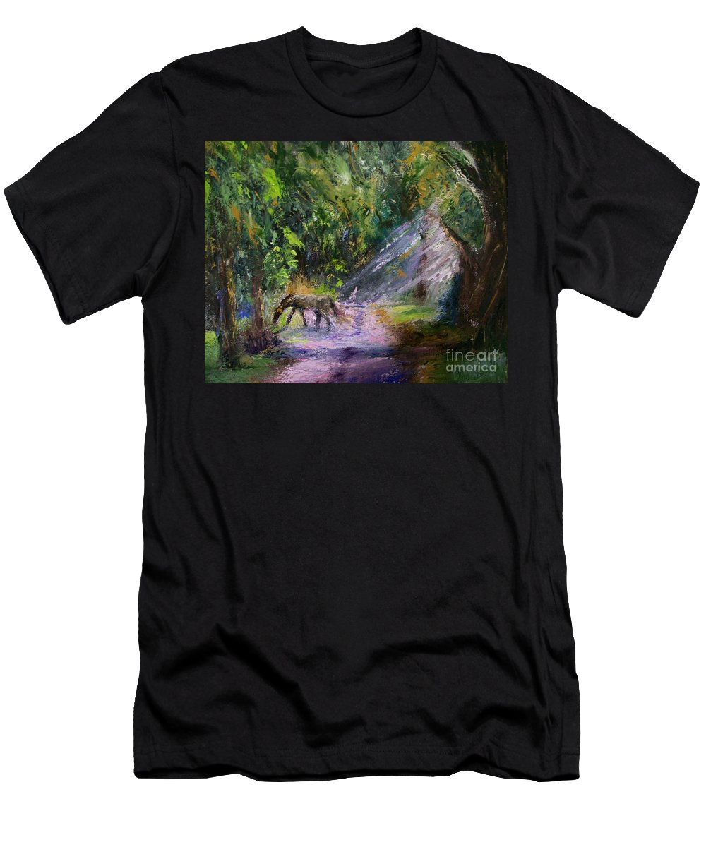 Landscape Men's T-Shirt (Athletic Fit) featuring the painting Grazin' In The Grass by Stephen King
