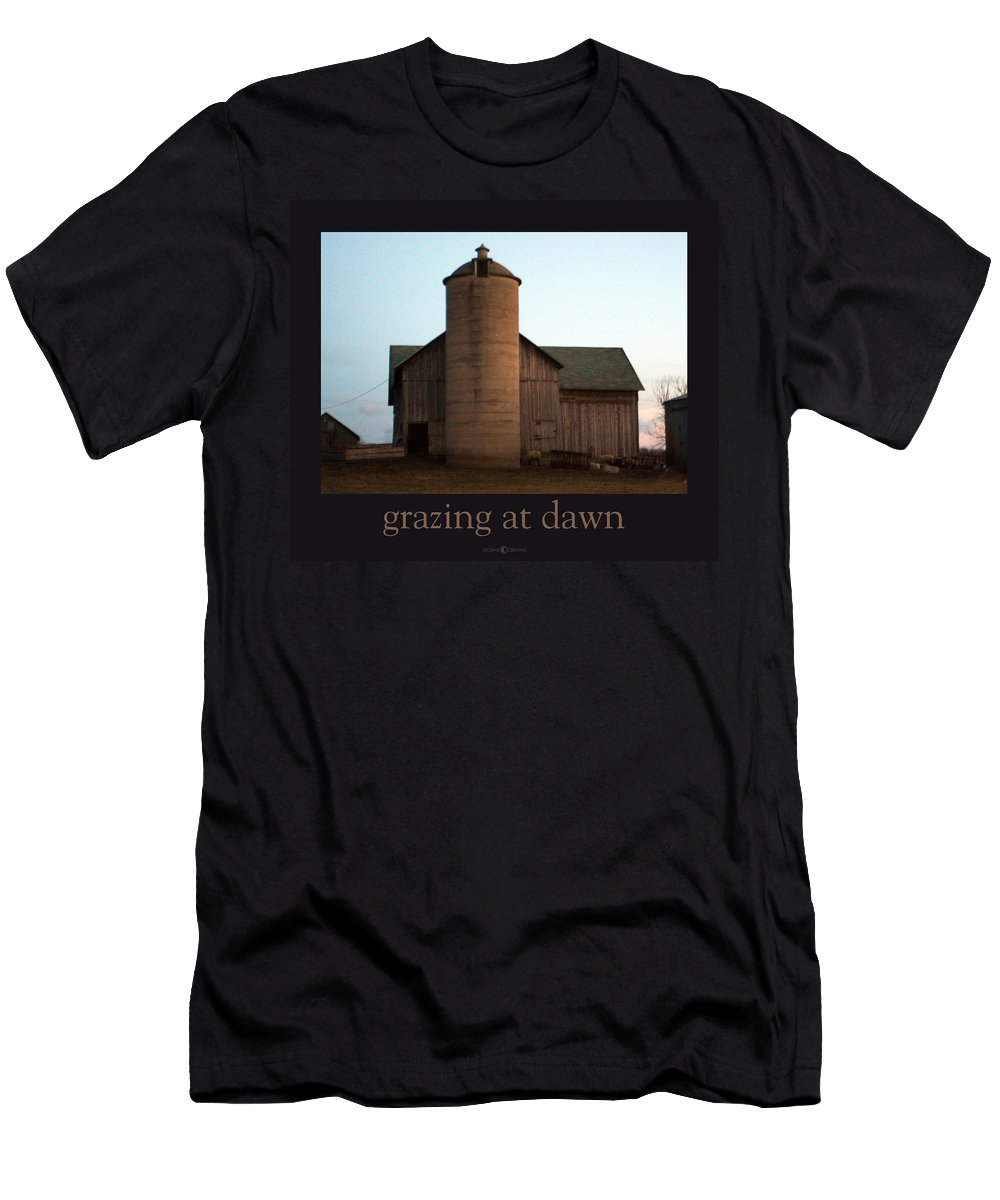 Barn Men's T-Shirt (Athletic Fit) featuring the photograph Grazing At Dawn by Tim Nyberg
