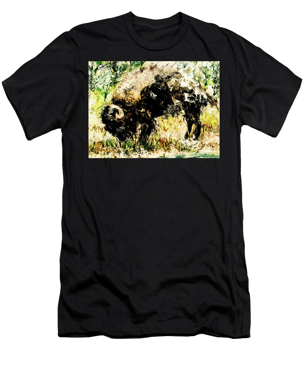 Bison Men's T-Shirt (Athletic Fit) featuring the painting Grazing Bison by Esther Brown