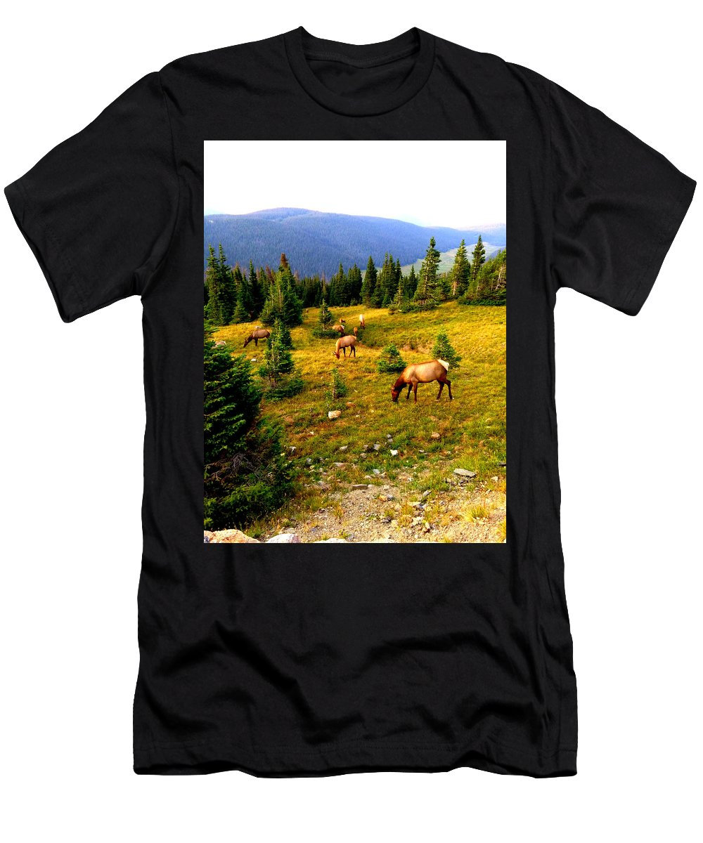 Landscape Men's T-Shirt (Athletic Fit) featuring the photograph Grazing Elk by Lesli Sherwin