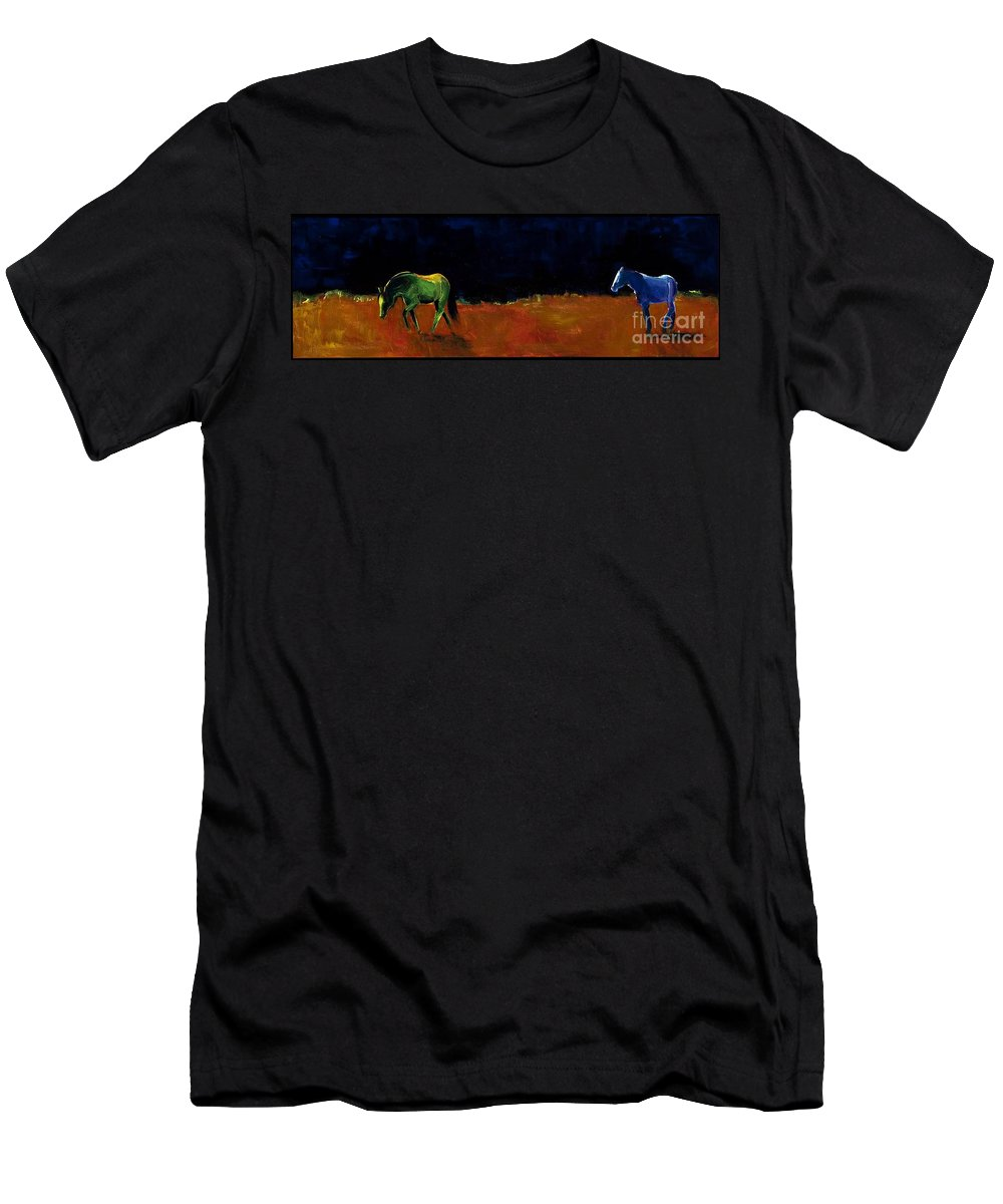 Abstract Horses Men's T-Shirt (Athletic Fit) featuring the painting Grazing In The Moonlight by Frances Marino