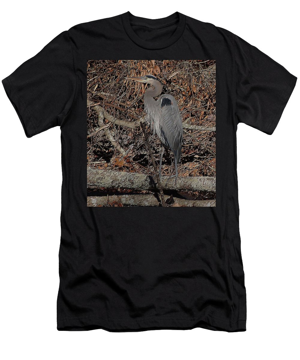Great Blue Heron Men's T-Shirt (Athletic Fit) featuring the photograph Great Blue by John Prickett