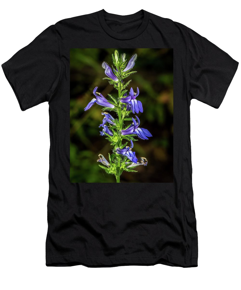 Nature Men's T-Shirt (Athletic Fit) featuring the photograph Great Blue Lobelia by Michael Cunningham