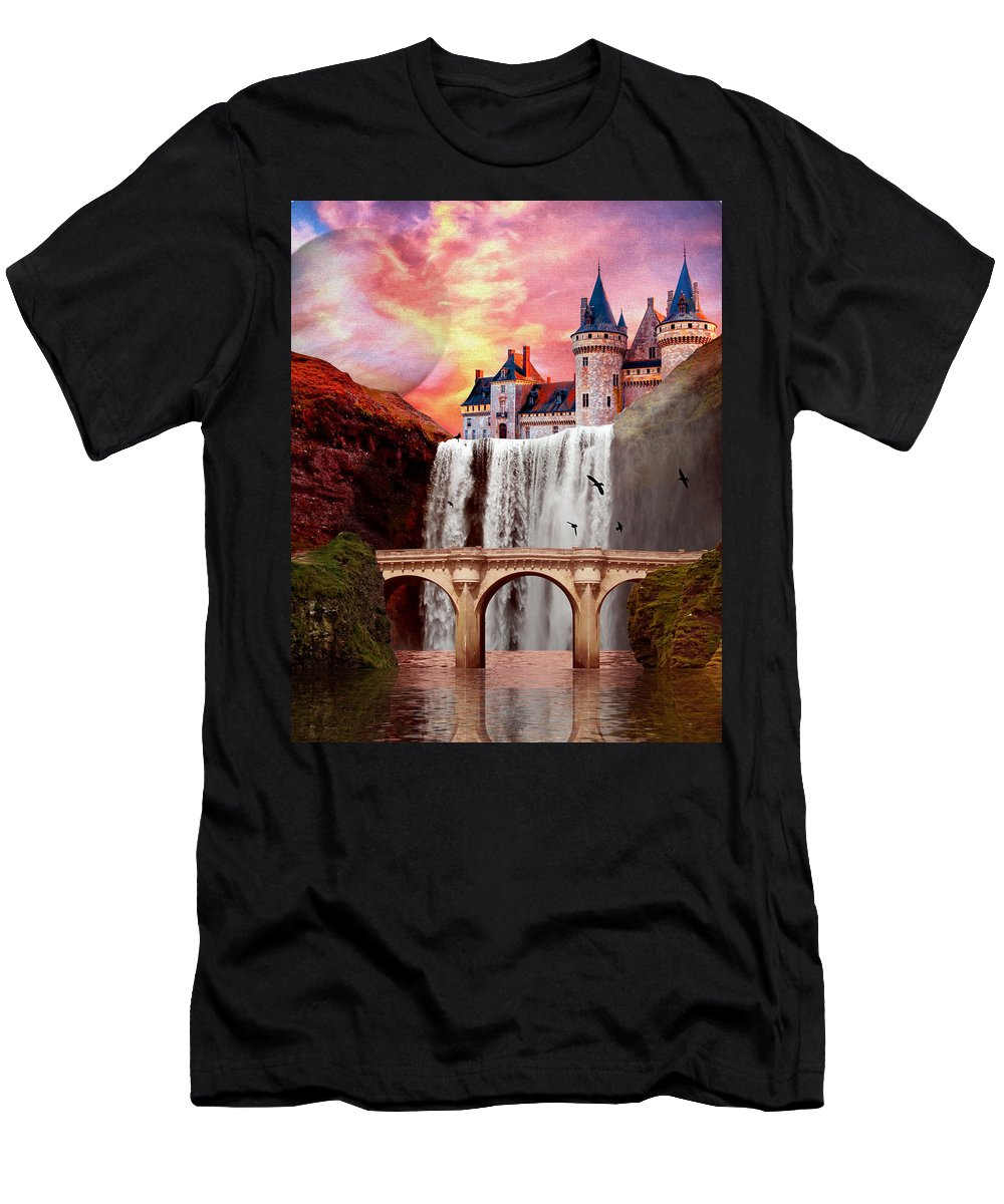 Castle Men's T-Shirt (Athletic Fit) featuring the painting Great Falls Castle by Charlie Alolkoy
