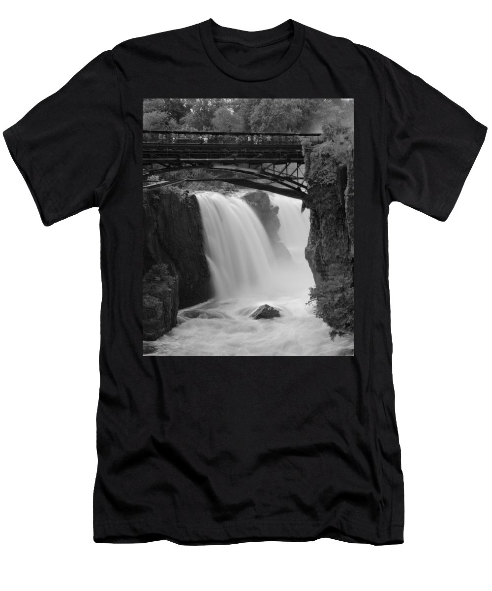 Waterfalls Men's T-Shirt (Athletic Fit) featuring the photograph Great Falls In Paterson Nj by Eleanor Bortnick