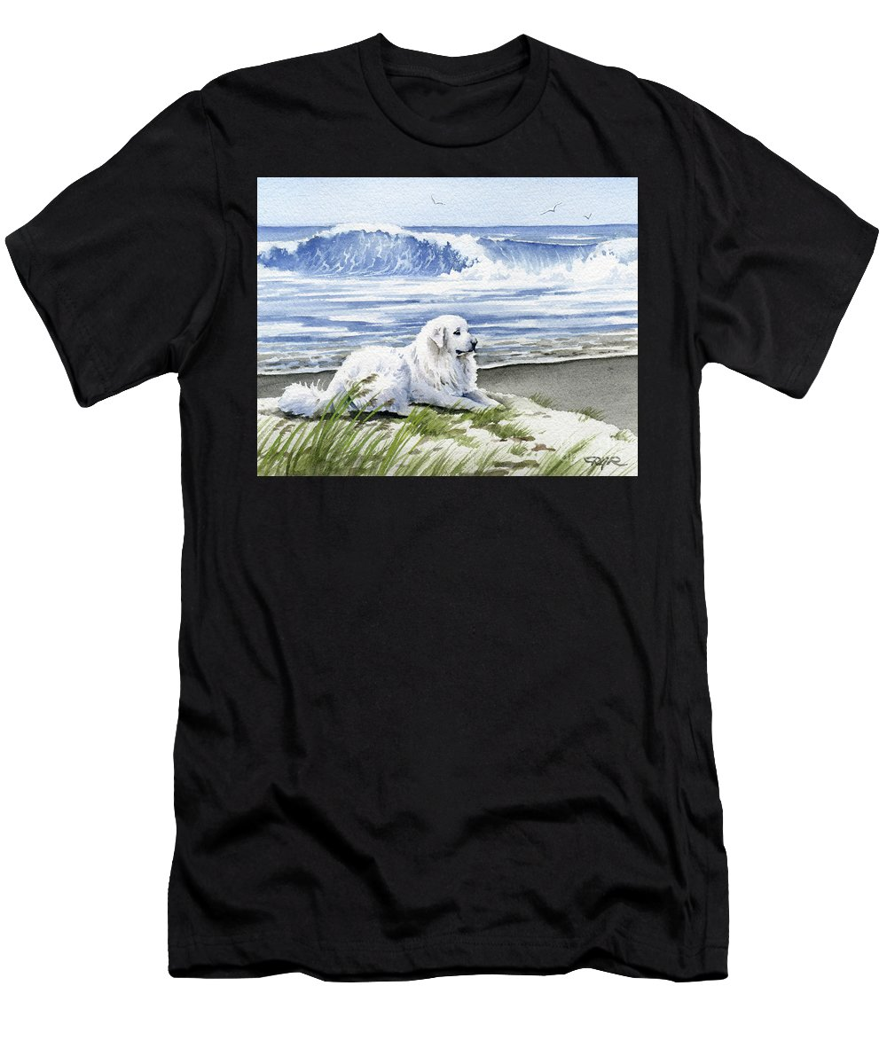 Great Men's T-Shirt (Athletic Fit) featuring the painting Great Pyrenees At The Beach by David Rogers
