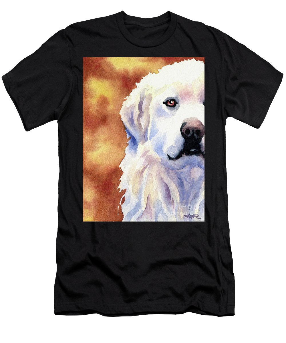 Great Men's T-Shirt (Athletic Fit) featuring the painting Great Pyrenees by David Rogers