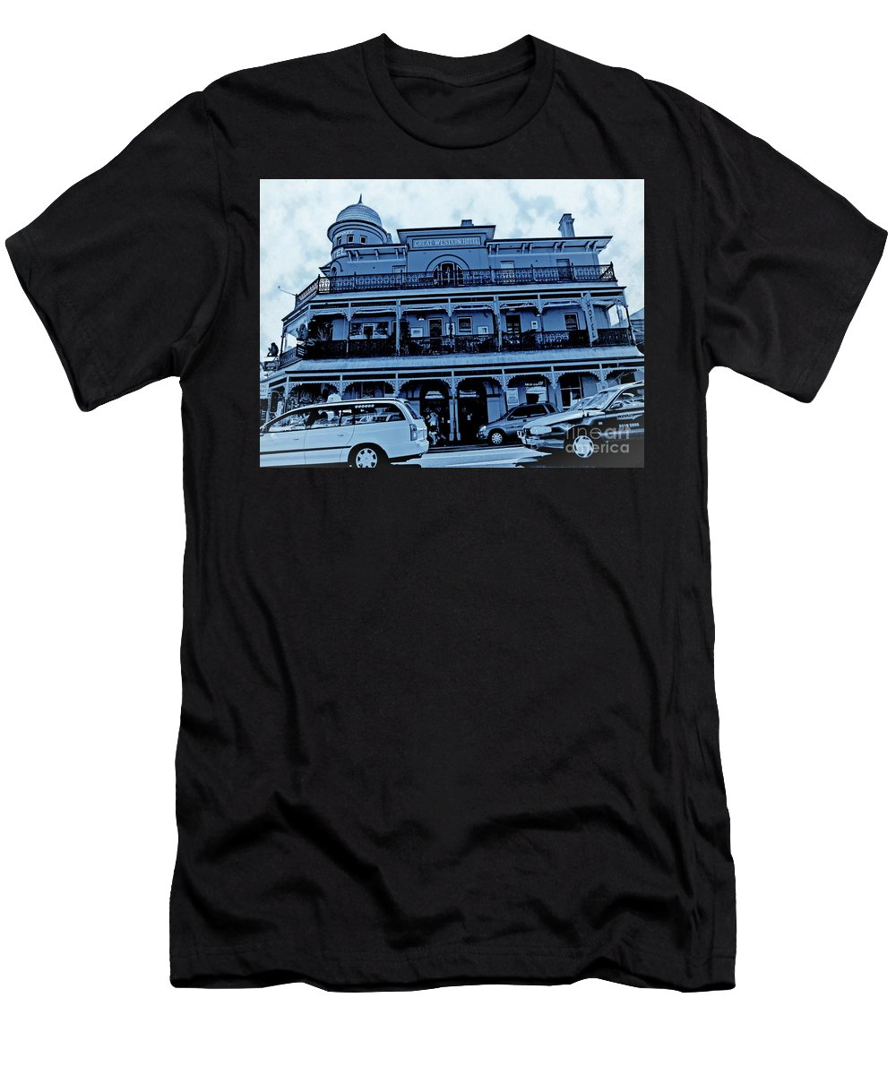 Digital Altered Photo Men's T-Shirt (Athletic Fit) featuring the photograph Great Western Perth Cyan by Tim Richards