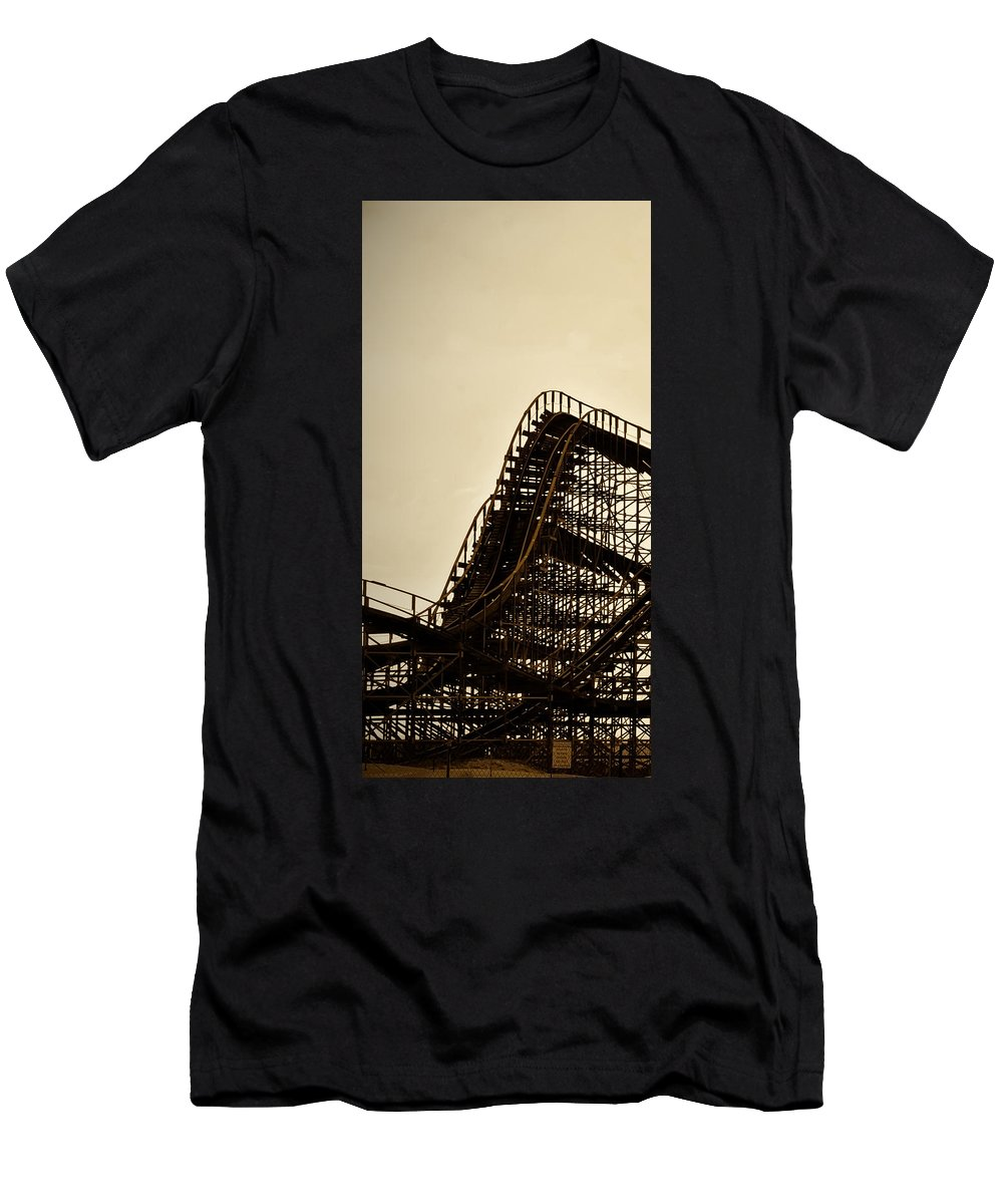 Great White Men's T-Shirt (Athletic Fit) featuring the photograph Great White Roller Coaster - Adventure Pier Wildwood Nj In Sepia Triptych 1 by Bill Cannon