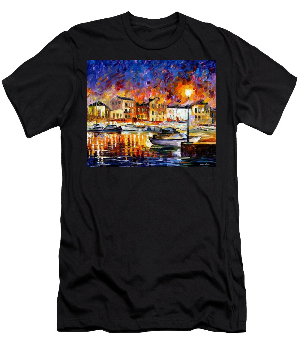 Afremov Men's T-Shirt (Athletic Fit) featuring the painting Greece by Leonid Afremov