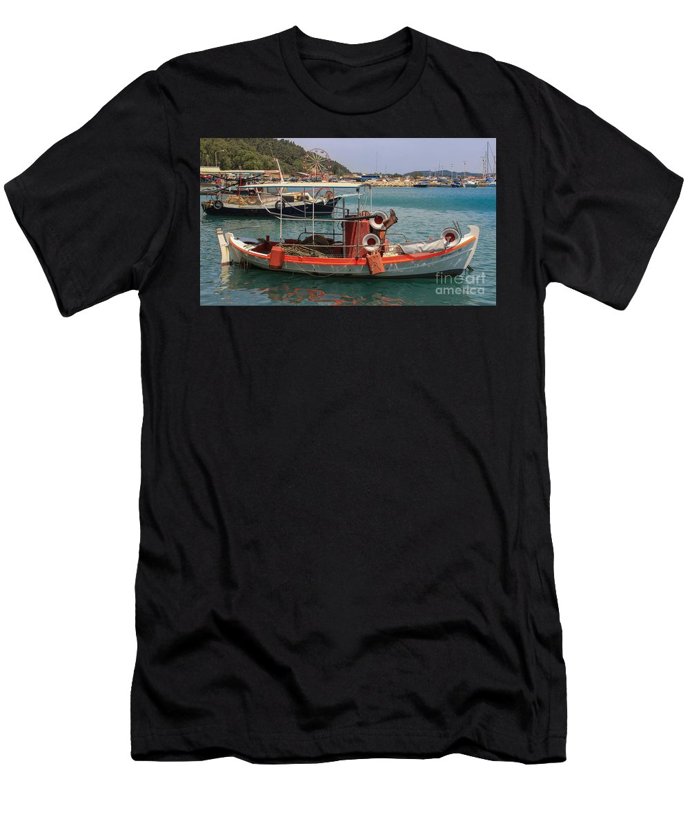 Boat Men's T-Shirt (Athletic Fit) featuring the photograph Greek Boat And Boots by Amy Sorvillo