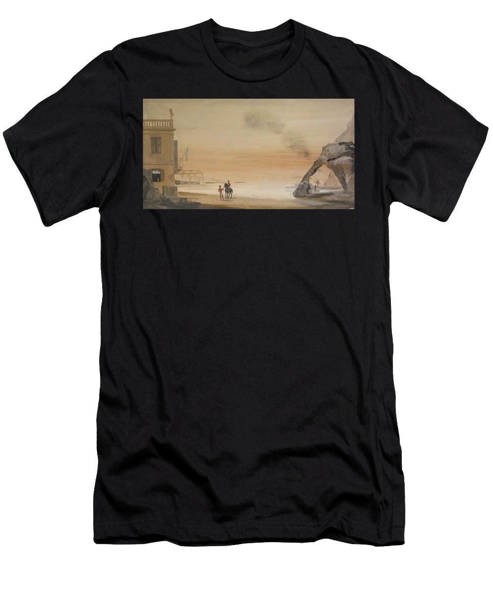 Yiannis Tsarouchis 1910 - 1989 Greek Neoclassical House Men's T-Shirt (Athletic Fit) featuring the painting Greek Neoclassical House by MotionAge Designs