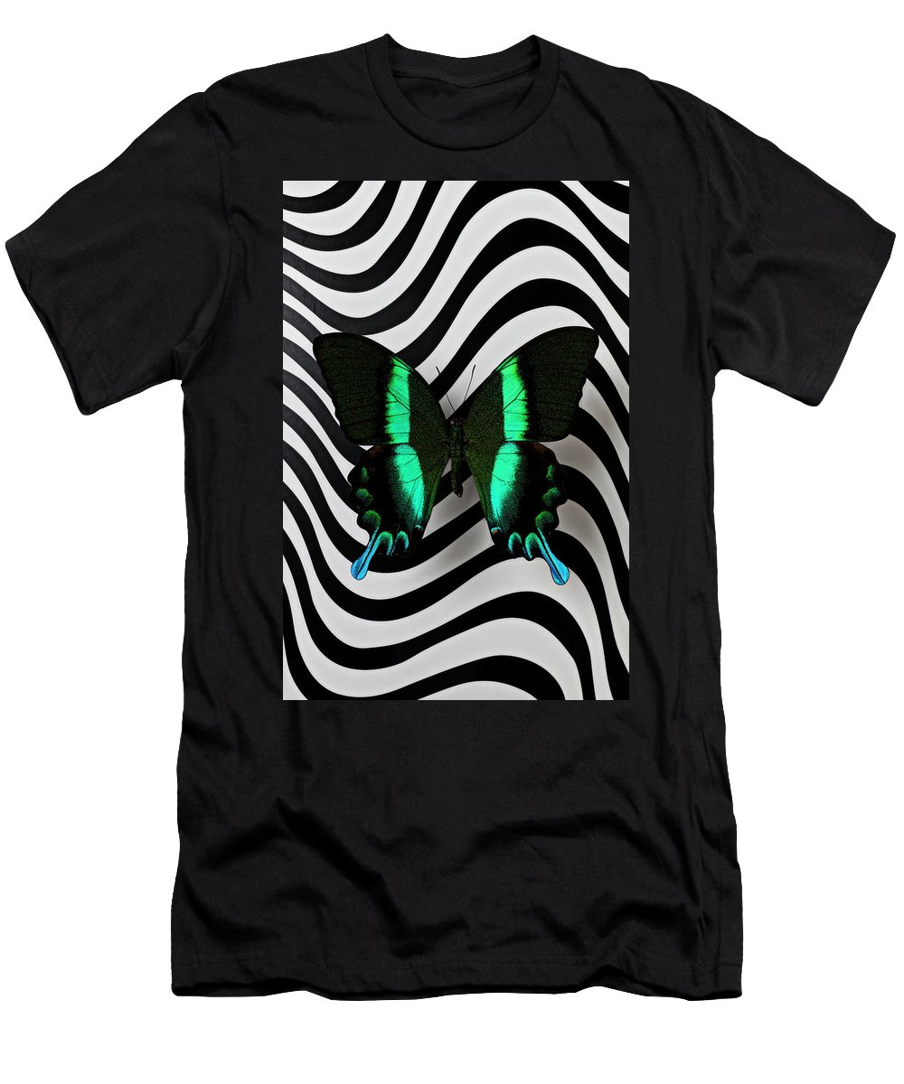 Green Men's T-Shirt (Athletic Fit) featuring the photograph Green And Black Butterfly On Wavey Lines by Garry Gay