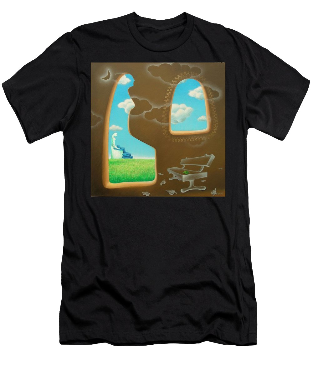 Romantic Men's T-Shirt (Athletic Fit) featuring the painting Green And Blue by Raju Bose