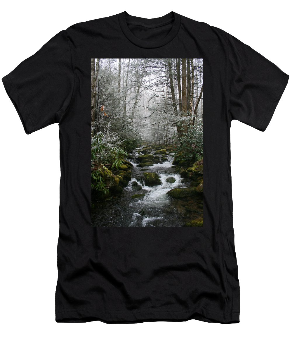 Green Snow Tree Trees Winter Stream River Creek Water Stone Rock Flow Boulder Forest Woods Cold Men's T-Shirt (Athletic Fit) featuring the photograph Green And White by Andrei Shliakhau